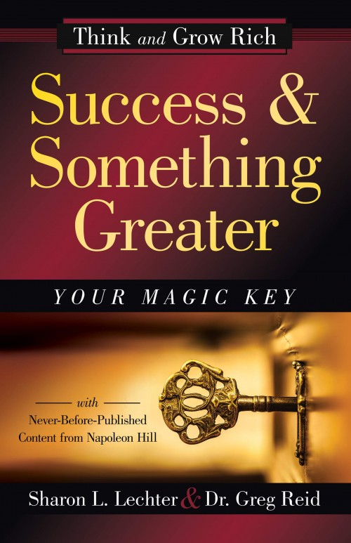 image of the front cover of Success and Something Greater. Gold font on dark red background. Additional text says Your magic key.