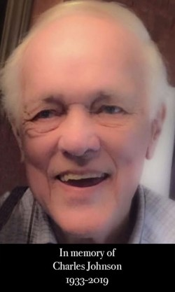 Photo of Charlie Johnson and text that says In memory of Charlie Johnson, 1933-2019